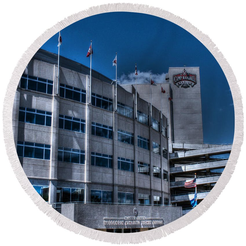 Camp Randall Round Beach Towel featuring the photograph Camp Randall Stadium by Tommy Anderson