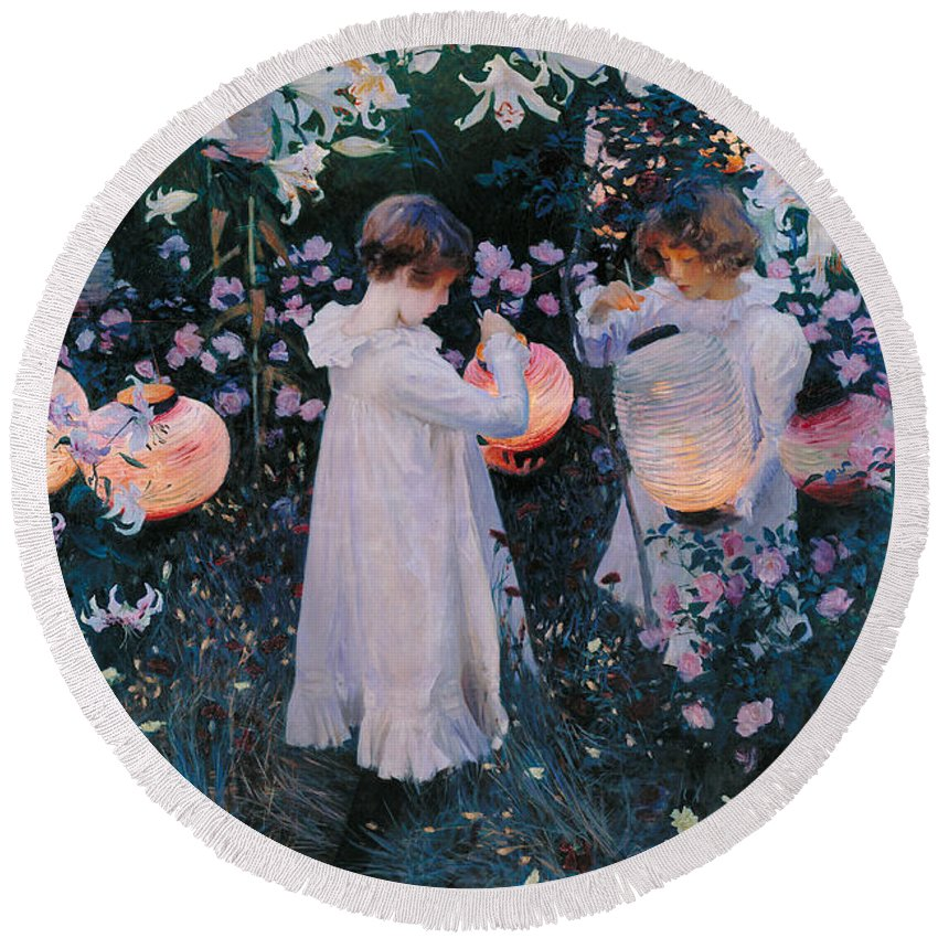 John Singer Sargent Round Beach Towel featuring the painting Carnation Lily Lily Rose by John Singer Sargent