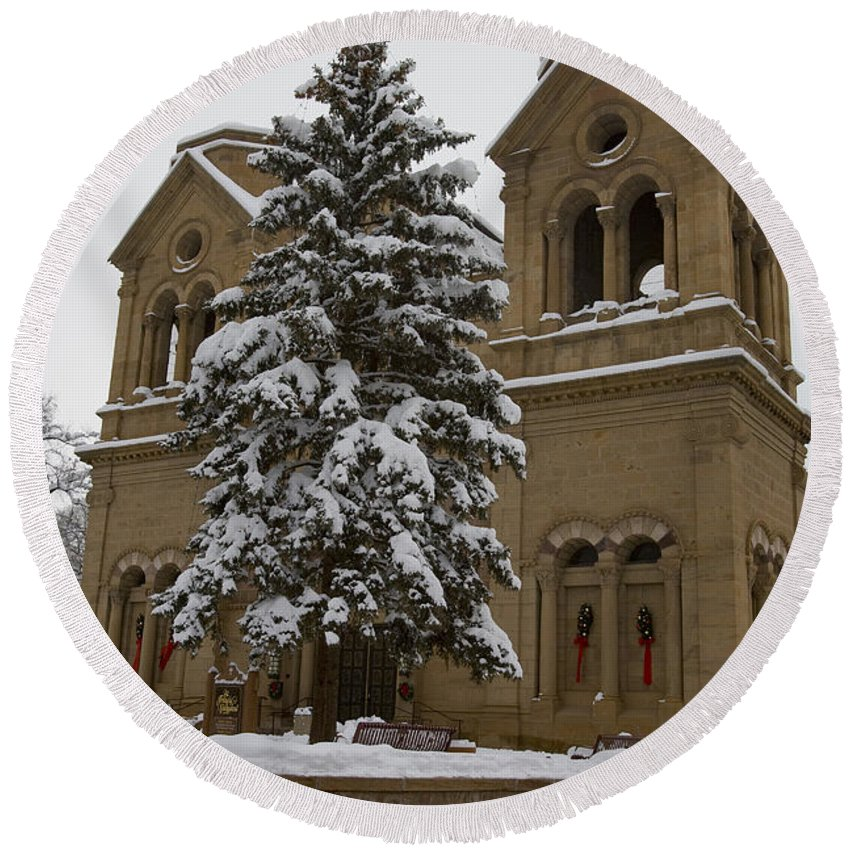 Cathedral Basilica Of St Francis Round Beach Towel featuring the photograph Cathedral Basilica Of St Francis In Snow by Jason O Watson