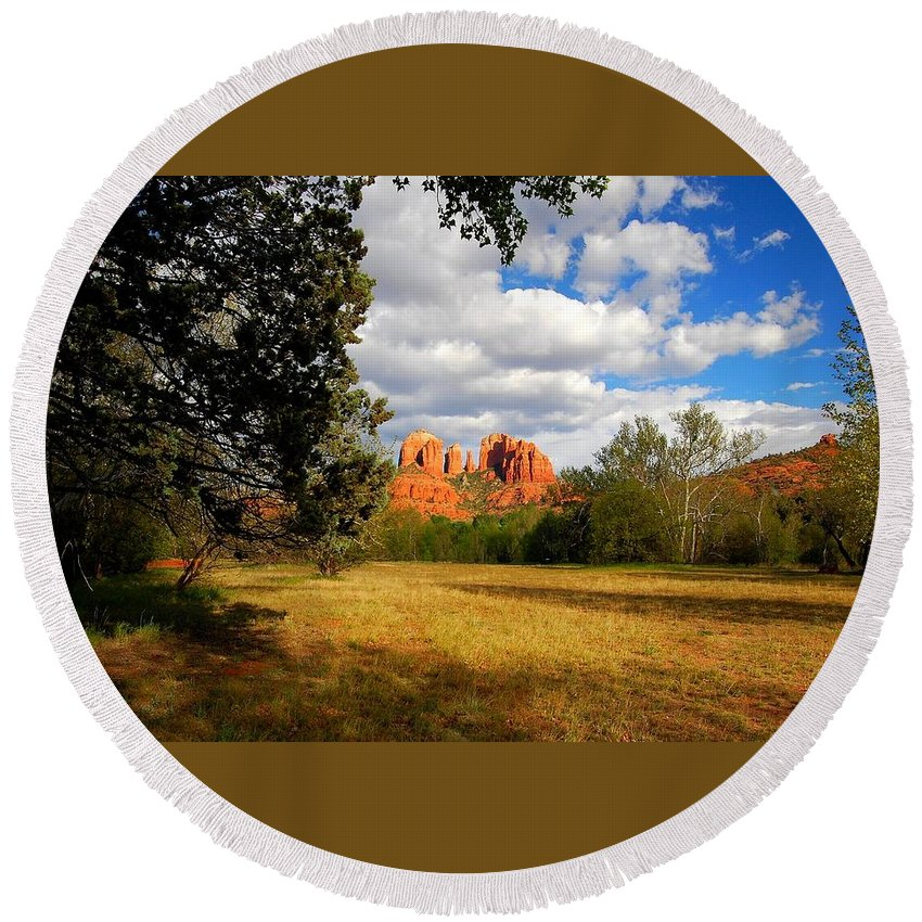 Arizona Round Beach Towel featuring the photograph Cathedral Clearing by Miles Stites
