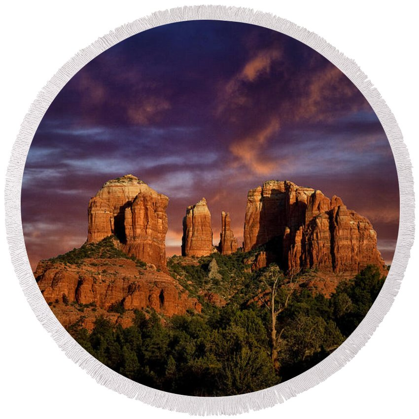 Cathedral Rock Round Beach Towel featuring the photograph Cathedral Rock by Diana Powell