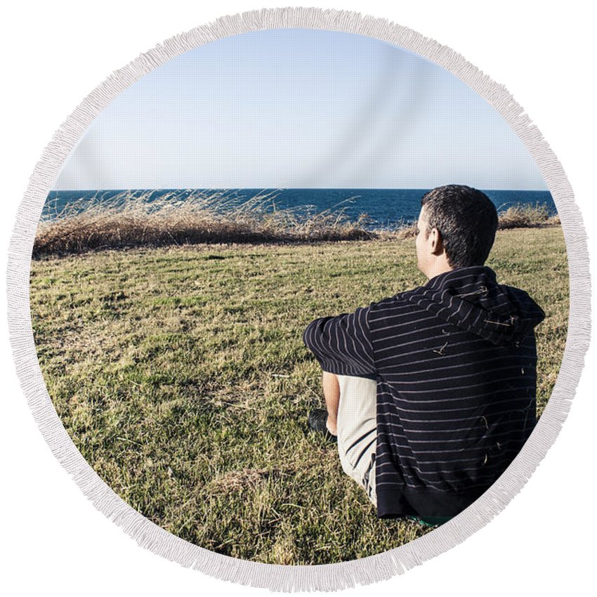 Back Round Beach Towel featuring the photograph Caucasian Traveler Relaxing On Grass Outdoors by Jorgo Photography - Wall Art Gallery