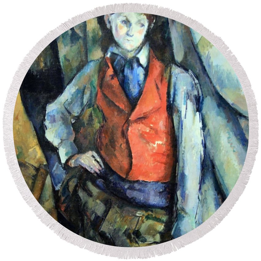 Boy In Red Waistcoat Round Beach Towel featuring the photograph Cezanne's Boy In Red Waistcoat by Cora Wandel