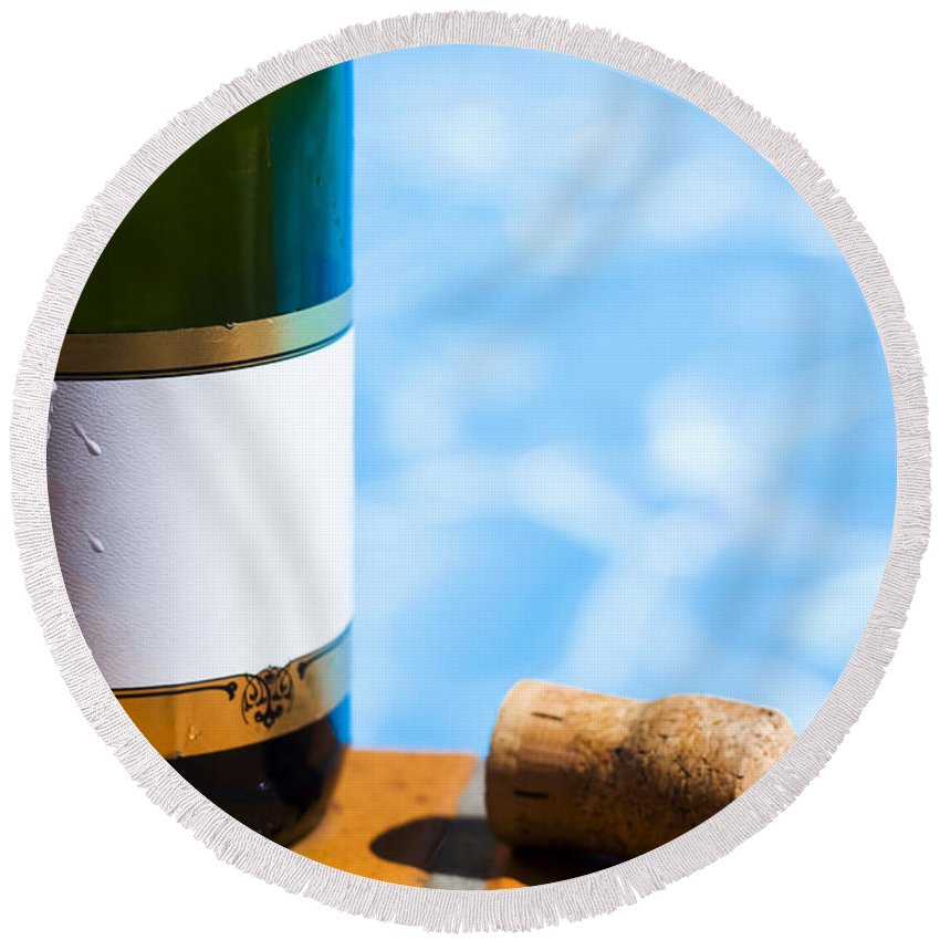 Alcohol Round Beach Towel featuring the photograph Champagne Bottle And Cork by Jorgo Photography - Wall Art Gallery