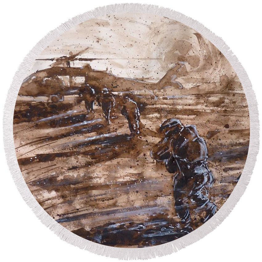 Soldiers Round Beach Towel featuring the painting Charlie Mike by Zaira Dzhaubaeva