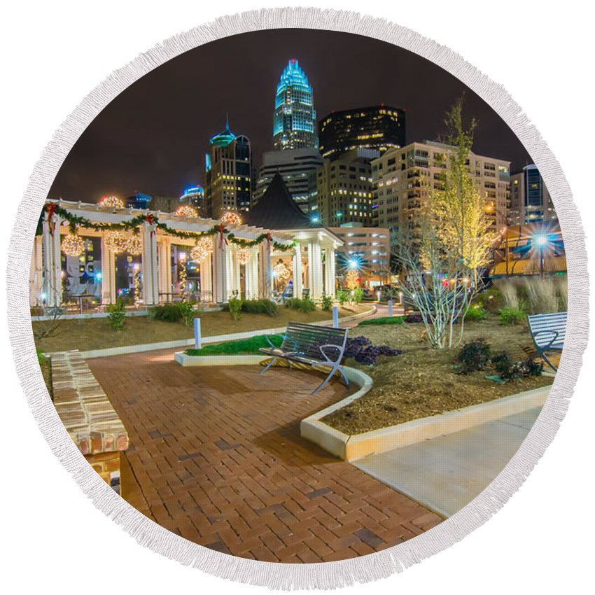 Charlotte Skyline Behind Romare Bearden Park Round Beach Towel featuring the photograph Charlotte Skyline Behind Romare Bearden Park by Alex Grichenko
