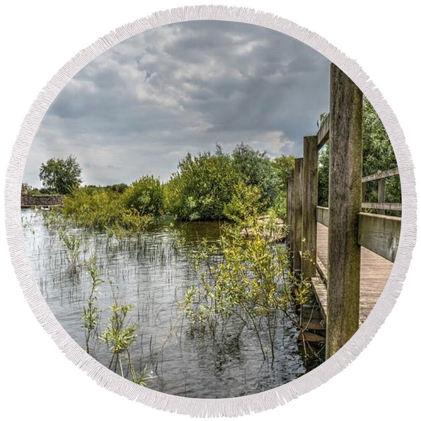 Chasewater Round Beach Towel featuring the photograph Chasewater by Mickey At Rawshutterbug