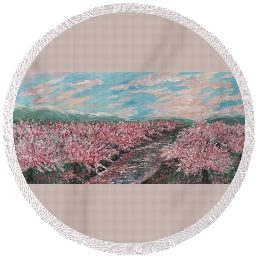 Bring Outdoors In Round Beach Towel featuring the painting Cherry Blossoms by Suniti Bhand