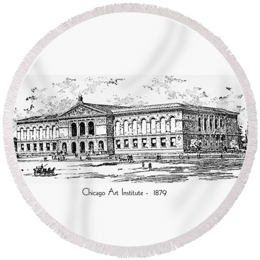 Chicago Round Beach Towel featuring the digital art Chicago Art Institute - 1879 by John Madison