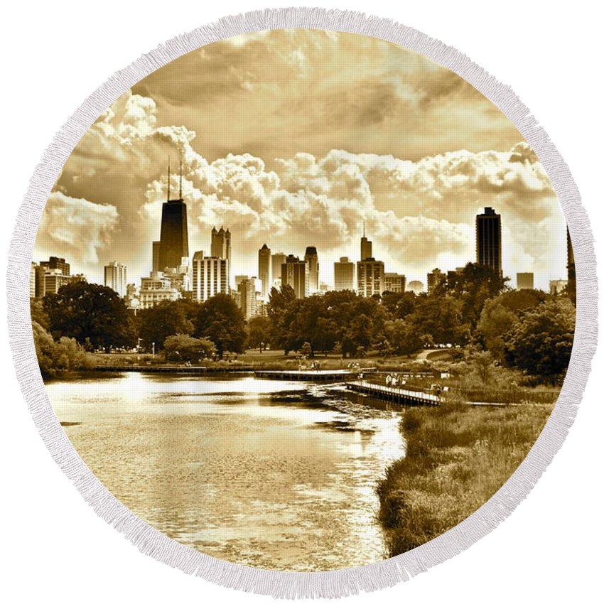 Chicago Round Beach Towel featuring the photograph Chicago In Sepia by Frozen in Time Fine Art Photography