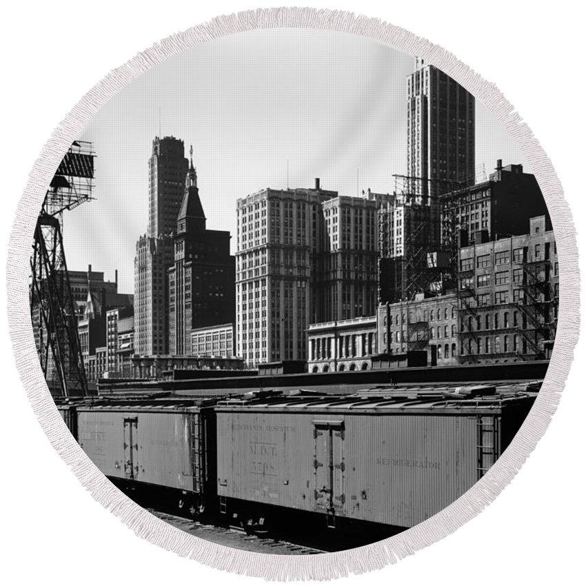 Chicago Round Beach Towel featuring the photograph Chicago Railway Freight Terminal - 1943 by Mountain Dreams