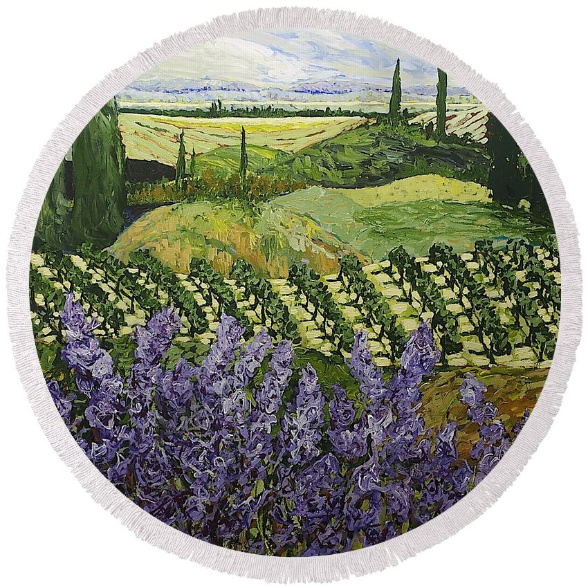Landscape Round Beach Towel featuring the painting Chinaberry Hill by Allan P Friedlander