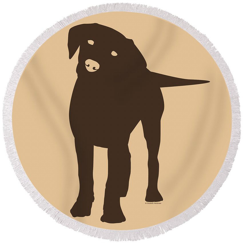 Silhouette Round Beach Towel featuring the digital art Chocolate Labrador by Elizabeth Harshman