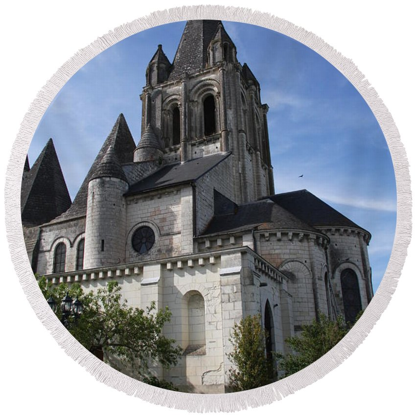 Church Round Beach Towel featuring the photograph Church - Loches - France by Christiane Schulze Art And Photography