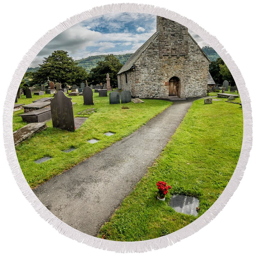 British Round Beach Towel featuring the photograph Church Of St Mary by Adrian Evans