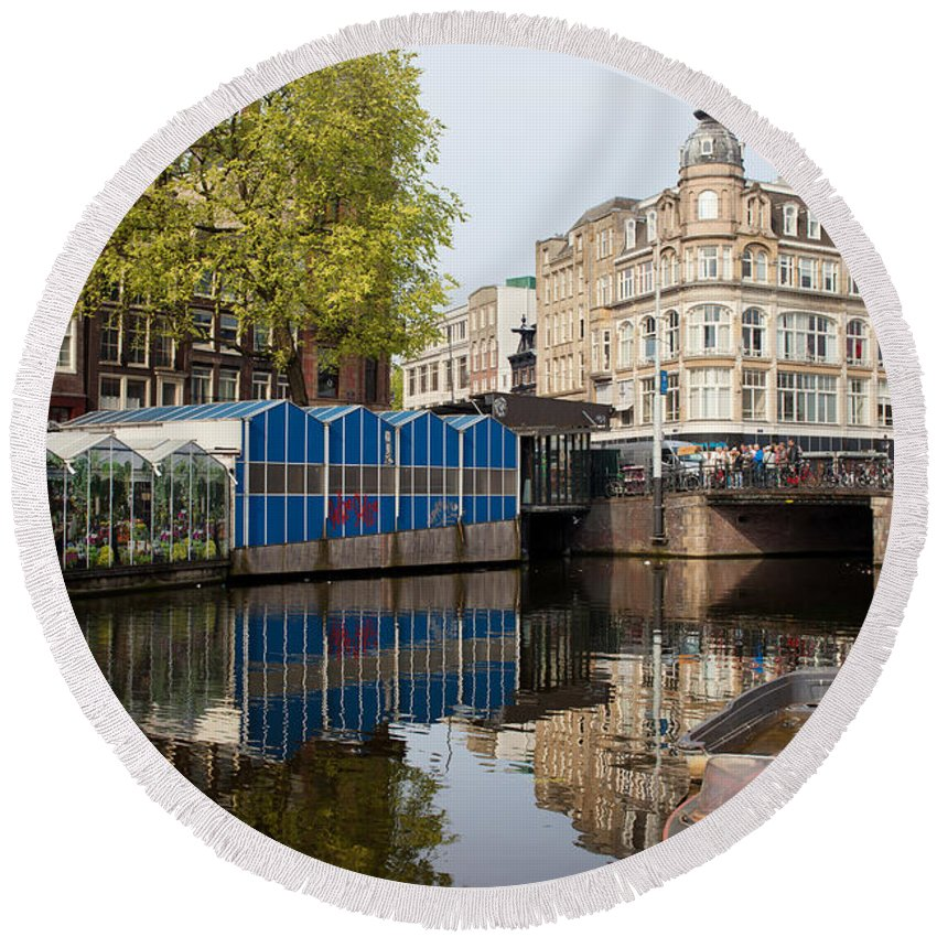Flower Round Beach Towel featuring the photograph City Of Amsterdam Cityscape by Artur Bogacki