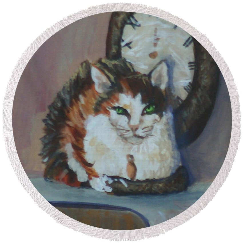 #animal Prints Round Beach Towel featuring the painting Clockwork Cat by Gail Daley