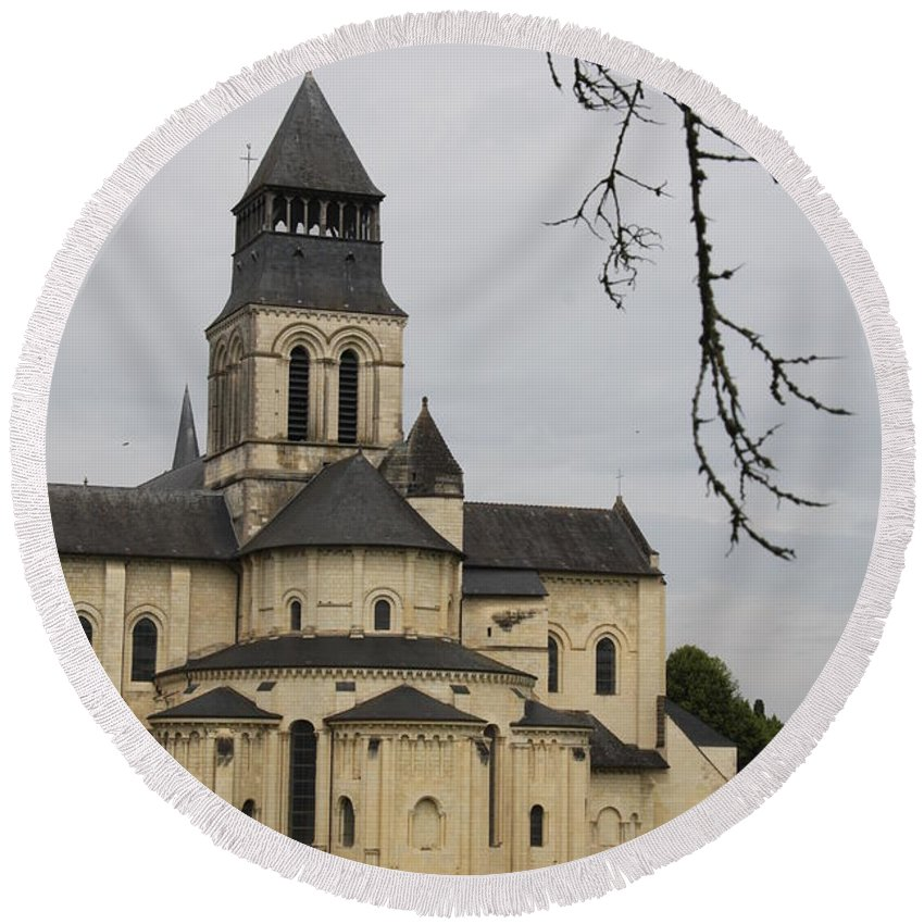 Cloister Round Beach Towel featuring the photograph Cloister Fontevraud - France by Christiane Schulze Art And Photography