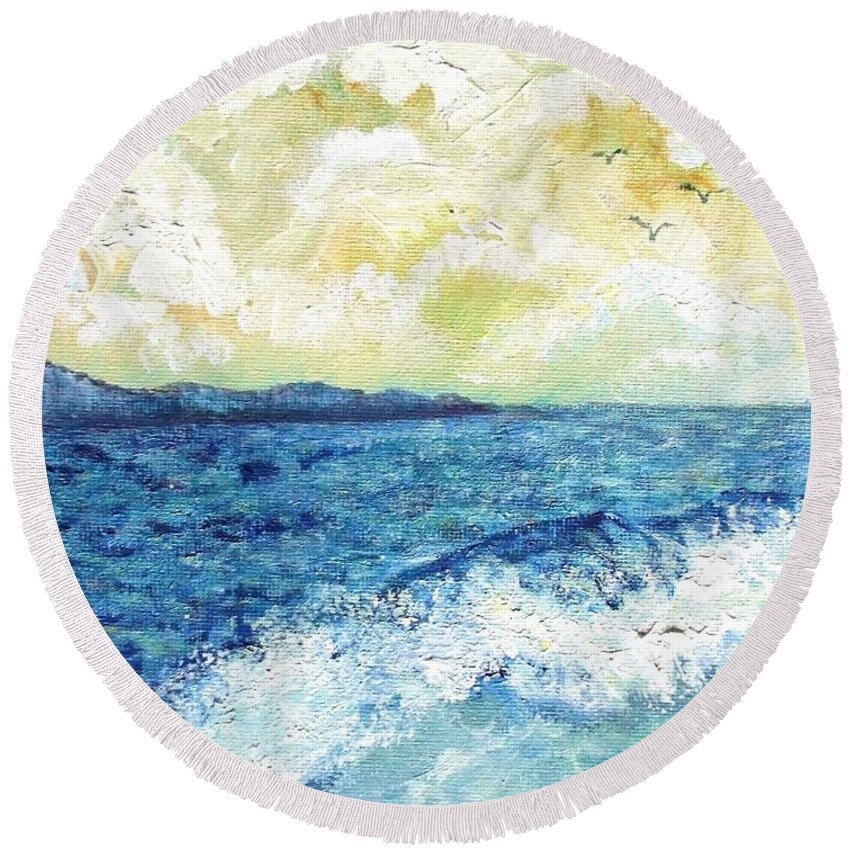 Sea Round Beach Towel featuring the painting Coastal Clouds by Shana Rowe Jackson