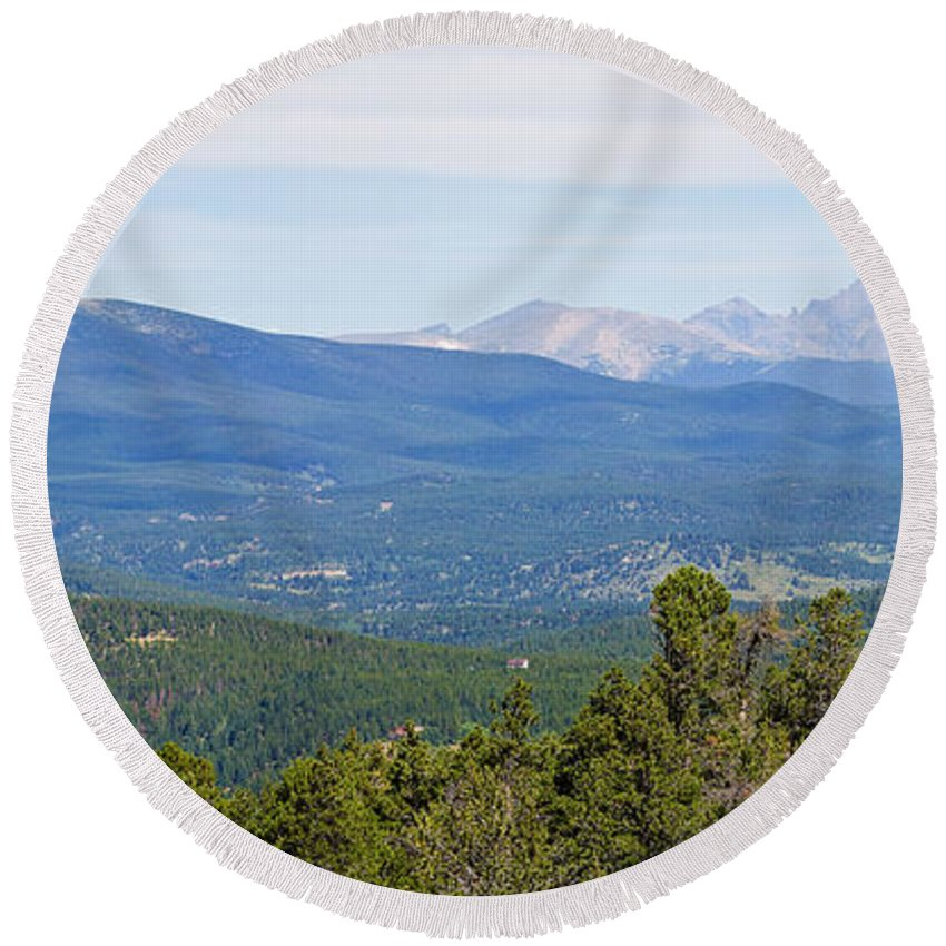 Rocky Mountains Round Beach Towel featuring the photograph Colorado Continental Divide 5 Part Panorama 5 by James BO Insogna