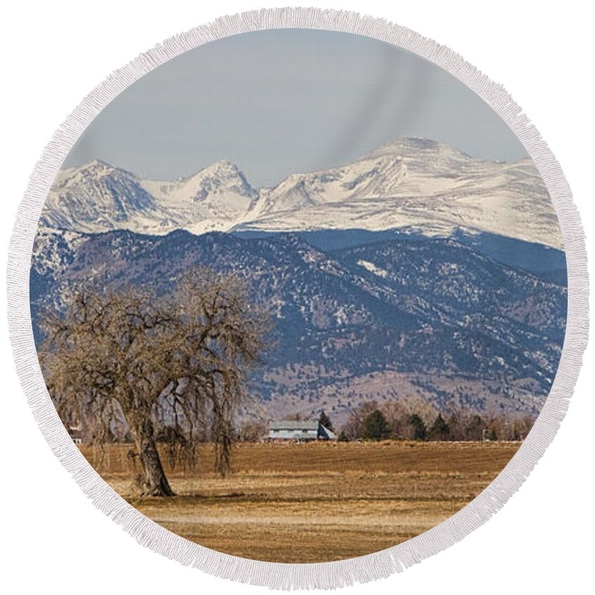 Panorama Round Beach Towel featuring the photograph Colorado Front Range Continental Divide Panorama by James BO Insogna