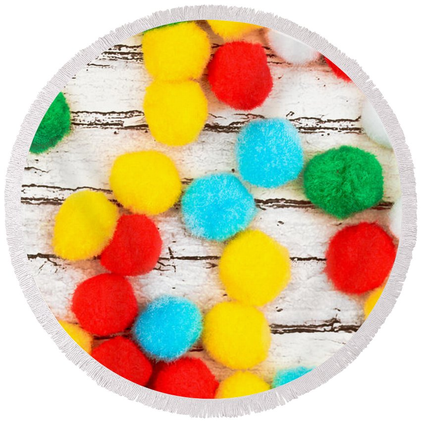 Abstract Round Beach Towel featuring the photograph Colorful Bonbons by Tom Gowanlock