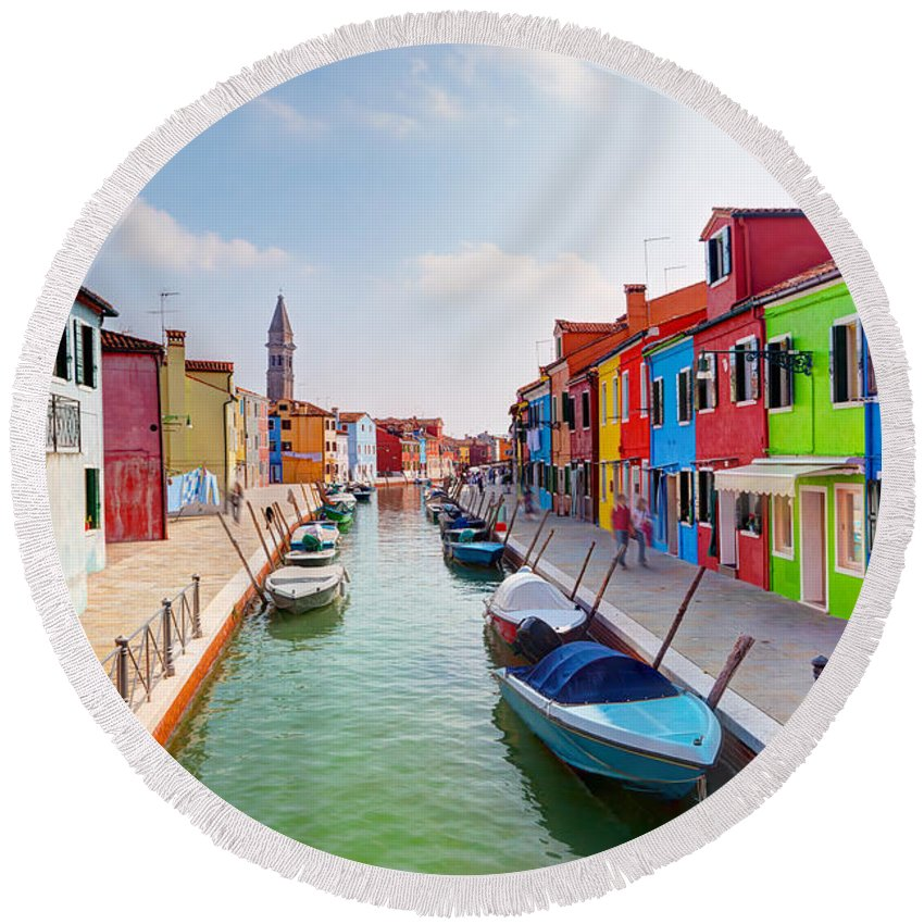 Burano Round Beach Towel featuring the photograph Colorful Houses And Canal On Burano Island Near Venice Italy by Michal Bednarek