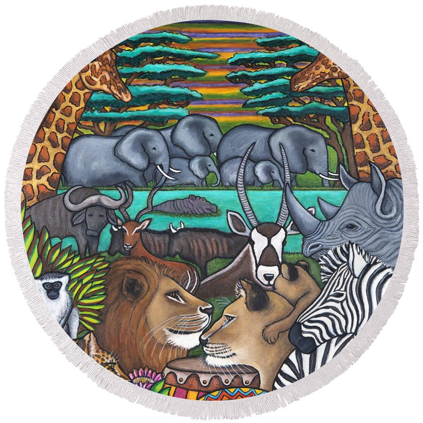 Africa Round Beach Towel featuring the painting Colours of Africa by Lisa Lorenz