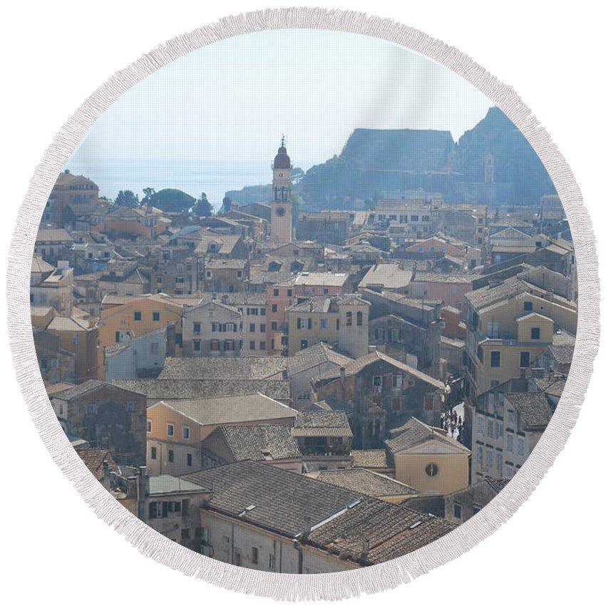 Corfu Round Beach Towel featuring the photograph Corfu City 2 by George Katechis