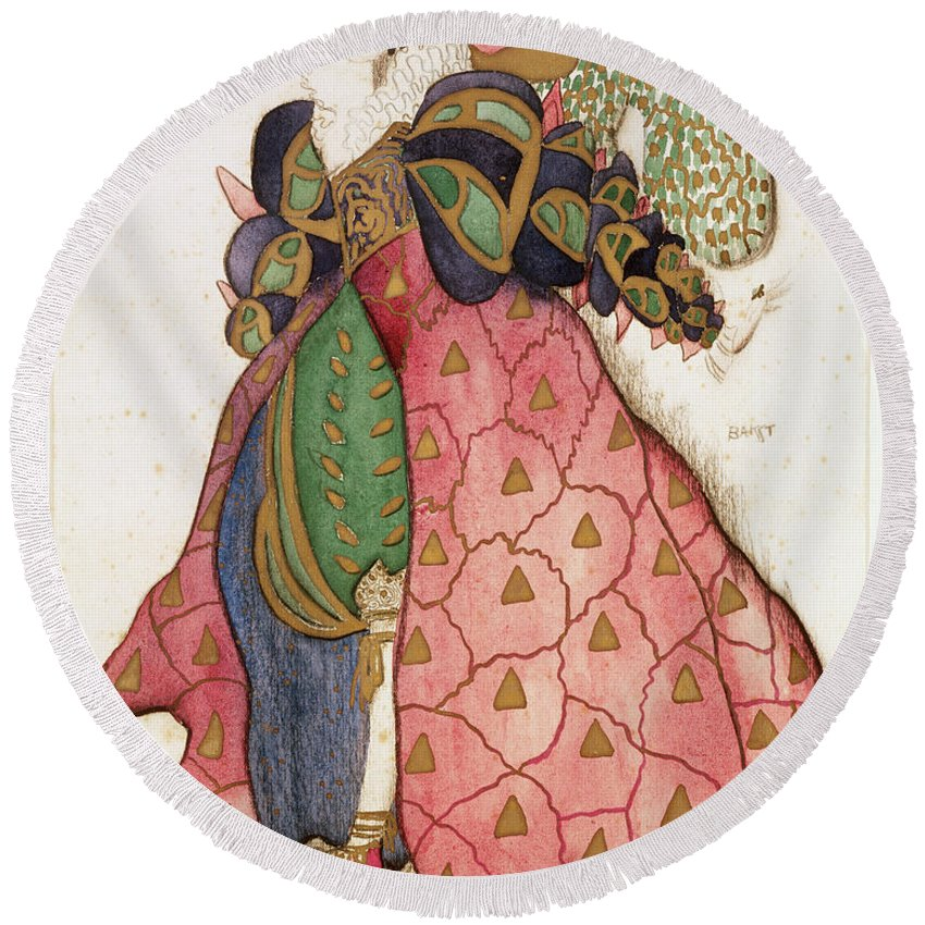Serge Diaghilev Round Beach Towel featuring the drawing Costume Design For The Ballet La by Leon Bakst