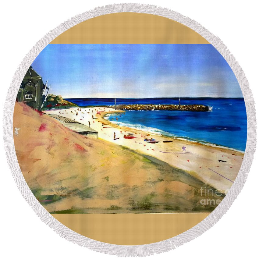 Cottesloe Round Beach Towel featuring the painting Cottesloe Beach by Therese Alcorn