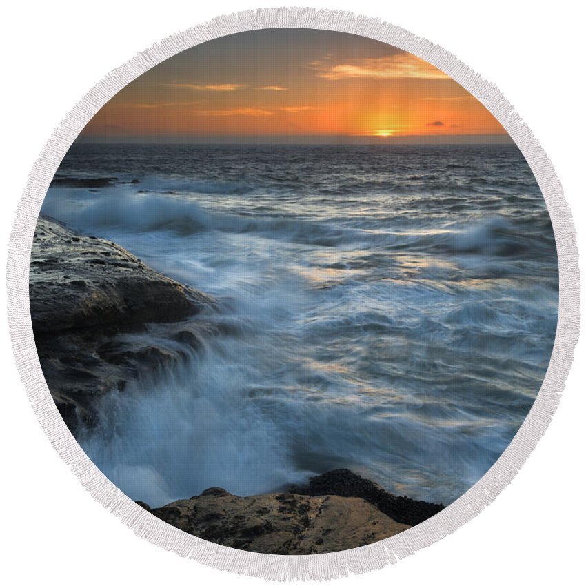 Cape Kiwanda Round Beach Towel featuring the photograph Covered By The Sea by Mike Dawson