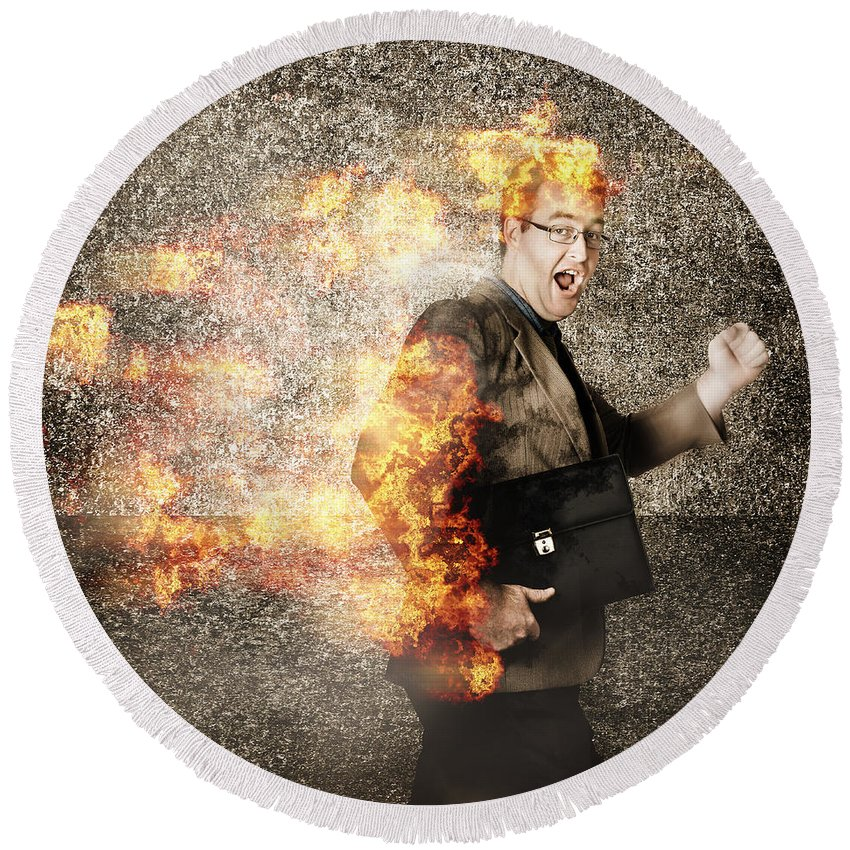 Business Round Beach Towel featuring the photograph Crazy Businessman Running Engulfed In Fire. Late by Jorgo Photography - Wall Art Gallery