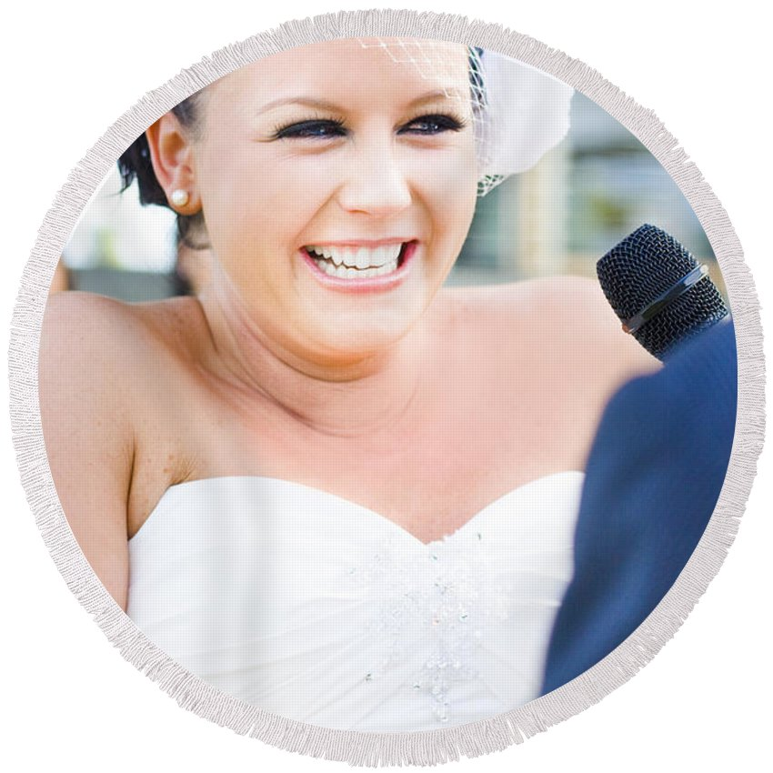 Female Round Beach Towel featuring the photograph Crying And Laughing Bride by Jorgo Photography - Wall Art Gallery