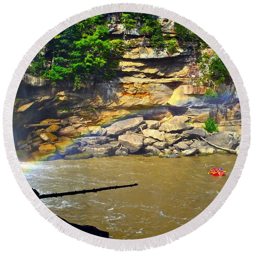 Rainbow Round Beach Towel featuring the photograph Cumberland Falls Rainbow by Frozen in Time Fine Art Photography