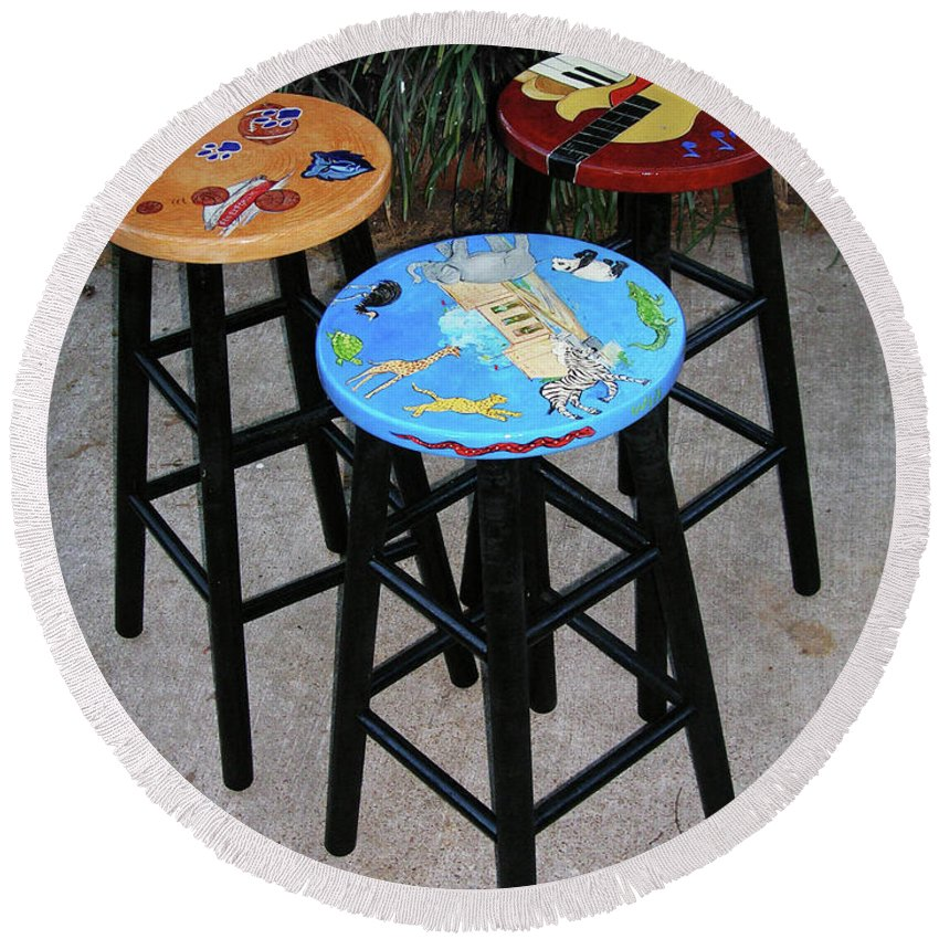 Decorative Painting Round Beach Towel featuring the painting Custom Barstools by Lizi Beard-Ward