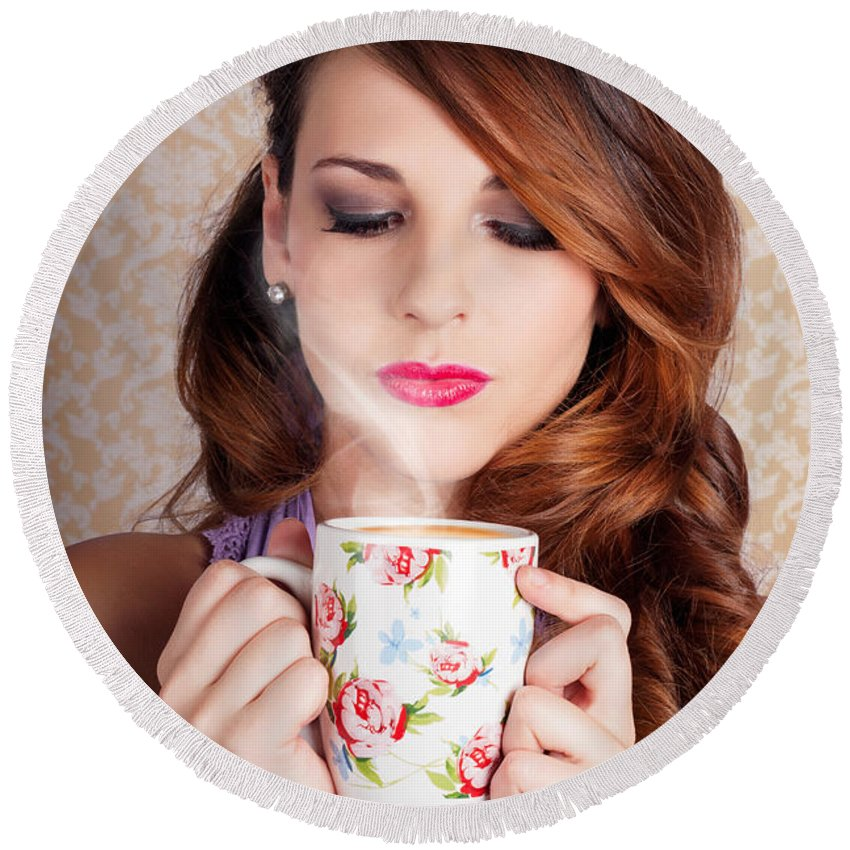 20s Round Beach Towel featuring the photograph Cute Brunette Woman Drinking Hot Coffee Indoors by Jorgo Photography - Wall Art Gallery