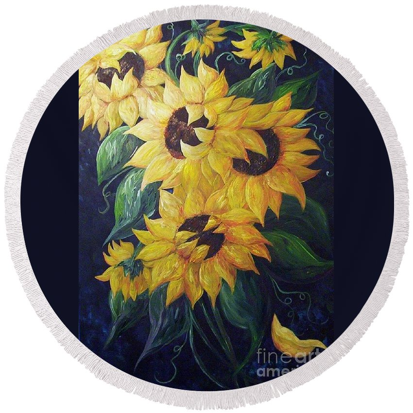 Sunflower Round Beach Towel featuring the painting Dancing Sunflowers by Eloise Schneider
