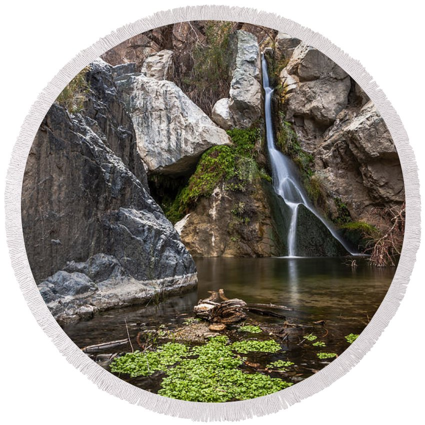 Water Round Beach Towel featuring the photograph Darwin Falls by Cat Connor