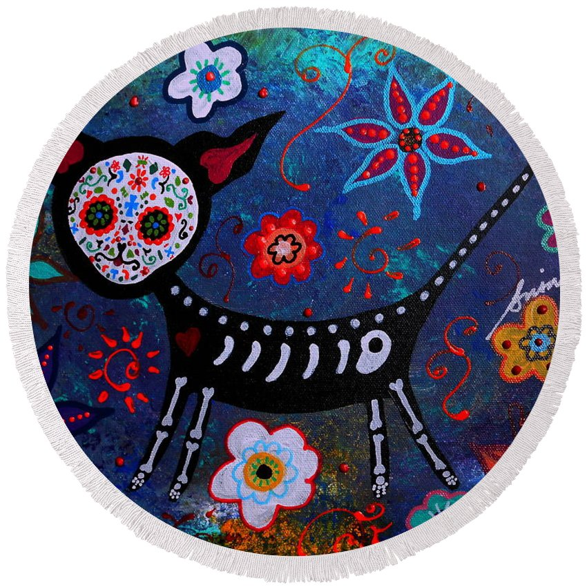 Day Of The Dead Round Beach Towel featuring the painting Day Of The Dead Chihuahua by Pristine Cartera Turkus