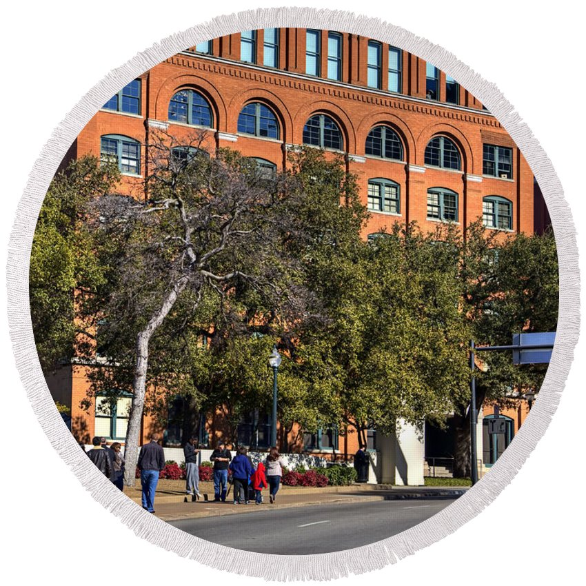 Dealey Round Beach Towel featuring the photograph Dealey Plaza by Ricky Barnard