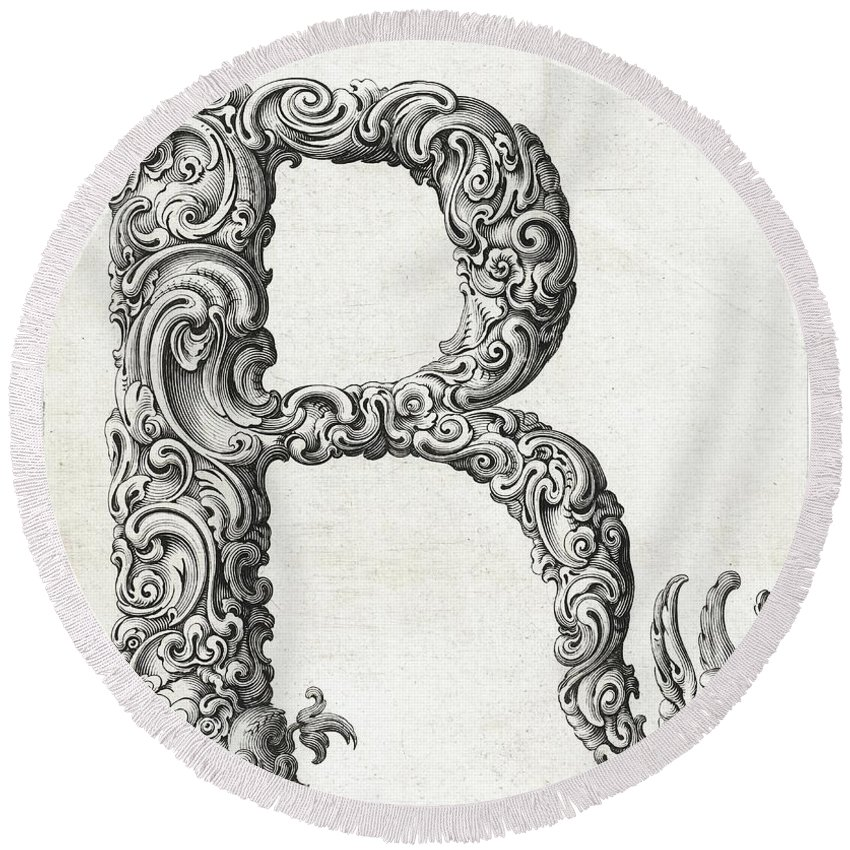 R Round Beach Towel featuring the photograph Decorative Letter Type R 1650 by Georgia Fowler