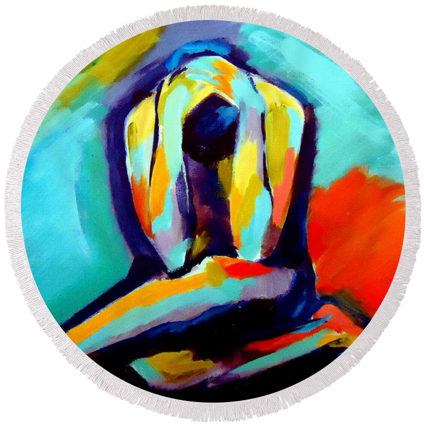 Abstract Nudes Round Beach Towel featuring the painting Despair by Helena Wierzbicki