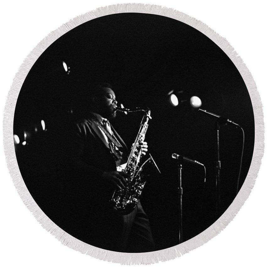 Jazz Round Beach Towel featuring the photograph Dewey Redman by Lee Santa