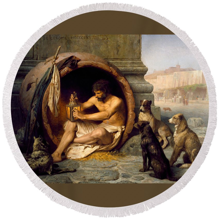 Jean-leon Gerome Round Beach Towel featuring the painting Diogenes by Jean-Leon Gerome