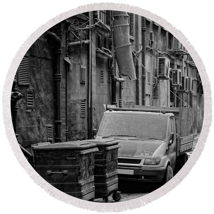 Black Round Beach Towel featuring the photograph Dirty Back Streets Mono by Antony McAulay