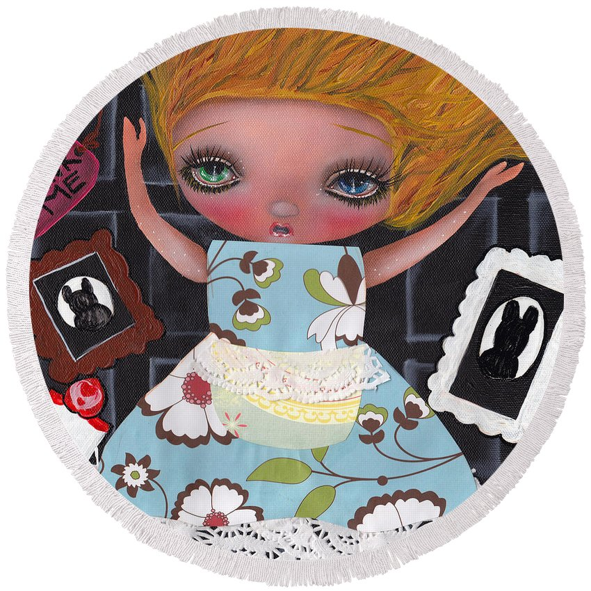 Alice In Wonderland Round Beach Towel featuring the painting Down The Rabbit Hole by Abril Andrade Griffith