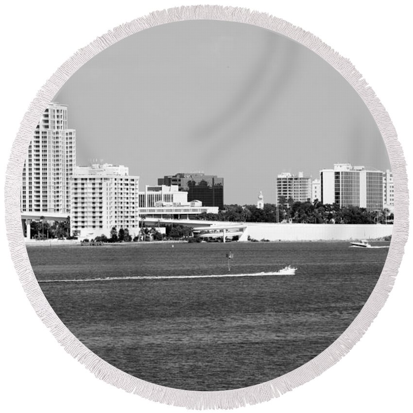 Black And White Round Beach Towel featuring the photograph Downtown Clearwater Skyline by Bill Cobb