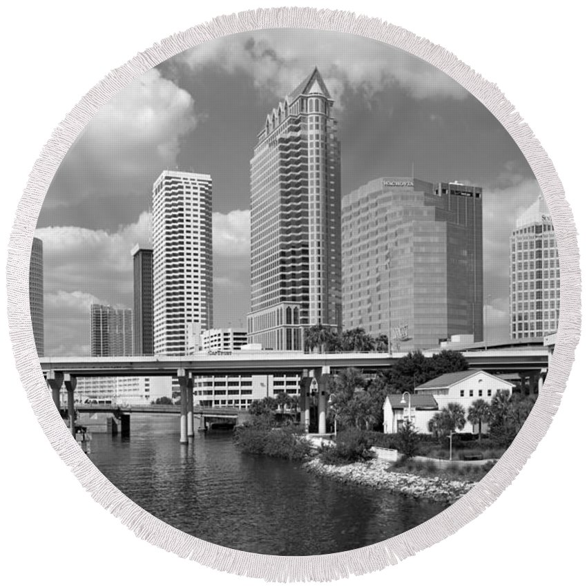 Black And White Round Beach Towel featuring the photograph Downtown Tampa Skyline From Davis Islands by Bill Cobb