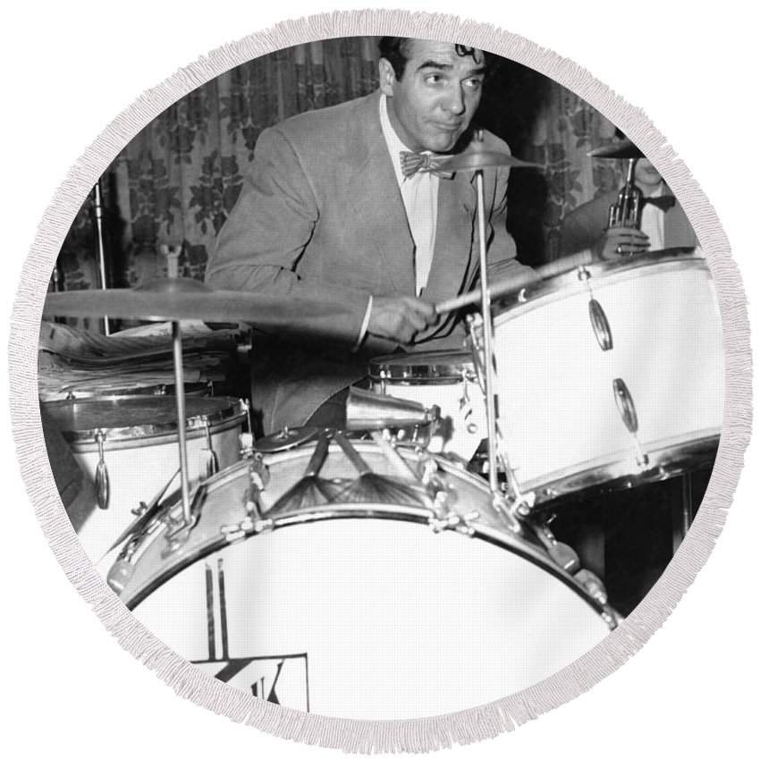 1949 Round Beach Towel featuring the photograph Drummer Gene Krupa by Underwood Archives